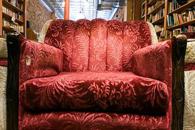 咖啡馆,红色,扶手椅,式样,咖啡店,水平画幅,纹理效果,智慧,无人,椅子