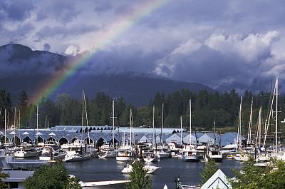煤湾,彩虹,加拿大,在上面,温哥华,水,天空,水平画幅,无人,云景