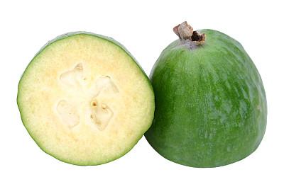 凤梨番石榴,切成两分的,饮食,水平画幅,绿色,水果,无人,有机食品,生食,白色背景