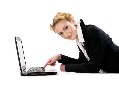 女商人,办公室,美,留白,笔记本电脑,半身像,水平画幅,美人,干净,白人