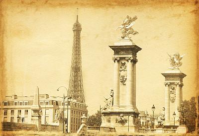 亚历山大三世桥,埃菲尔铁塔,美,褐色,古董,水平画幅,纹理效果,风化的,古老的,古典式
