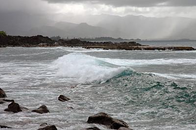 波浪,巨大的,海啸,水,暴风雨,水平画幅,无人,夏天,时间,夏威夷大岛
