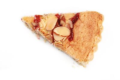 果子派,切片食物,饮食,水平画幅,白色背景,蛋塔,背景分离,小吃,甜点心,杏仁
