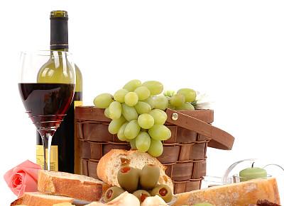 奶酪,酒瓶,葡萄酒,野餐篮,水平画幅,无人,玻璃,含酒精饮料,玫瑰,篮子