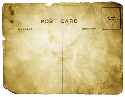 明信片,过时的,背景分离,磨损的,留白,褐色,古董,水平画幅,风化的