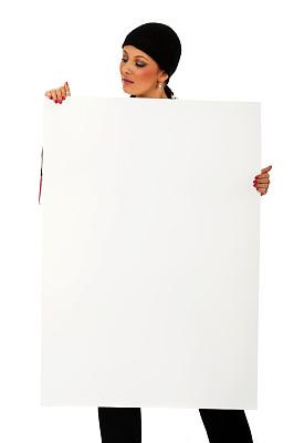 纸板,空白的,女人,垂直画幅,美,留白,消息,美人,白人,仅成年人