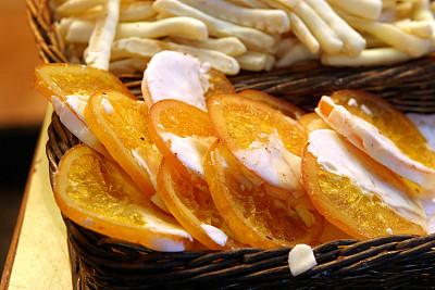橙子,市场,切片食物,蜜饯,商人,水平画幅,户外,篮子,货摊,糖果