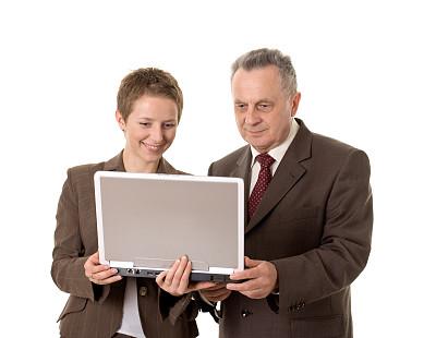 男商人,女商人,美,笔记本电脑,褐色,水平画幅,银色,智慧,美人,套装