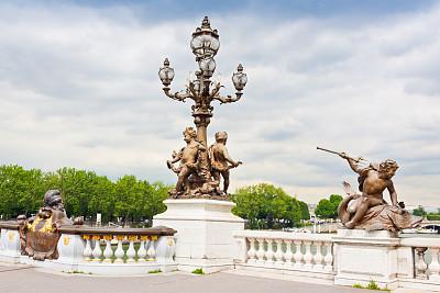 亚历山大三世桥,巴黎,塞纳河,天空,水平画幅,建筑,无人,欧洲,夏天,户外