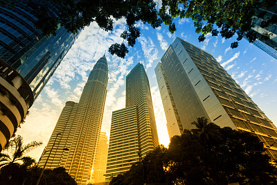 吉隆坡,马来西亚,居住区,商务,双峰塔,负冲效果,天空,留白,新的,水平画幅