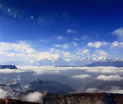 自然美,康巴,四川省,沟壑,水平画幅,无人,户外,云景,著名自然景观,山脊