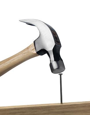 锤子,钉子,拔钉锤,垂直画幅,留白,木制,无人,手工具,白色背景,工具