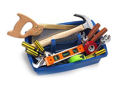 剪贴路径,工具箱,拔钉锤,螺丝刀,活动扳手,水平画幅,无人,白色背景,工具,锯子