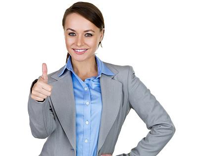 女商人,做手势,翘起大拇指,正面视角,半身像,绿色眼睛,套装,仅成年人,青年人,专业人员