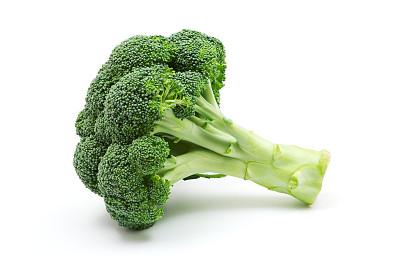 西兰花,绿花椰菜,白色背景,水平画幅,素食,无人,生食,特写,农作物,白色