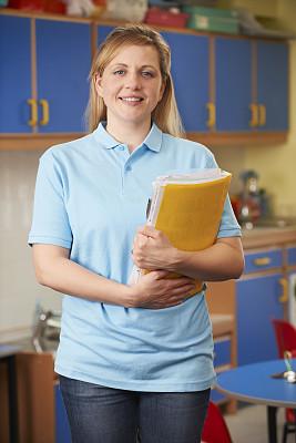 幼儿园,职业,儿童房,校服,垂直画幅,注视镜头,制服,白人,文档,成年的