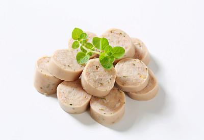 德式香肠,白色,分离着色,德国食物,经加工的肉,水平画幅,无人,传统,生食,肉
