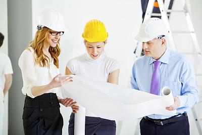 商务,蓝图,团队,正面视角,建筑承包商,半身像,套装,男商人,经理,安全帽