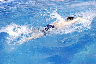 自由式游泳,水,水平画幅,高视角,游泳池,夏天,白人,海浪,运动,背面视角
