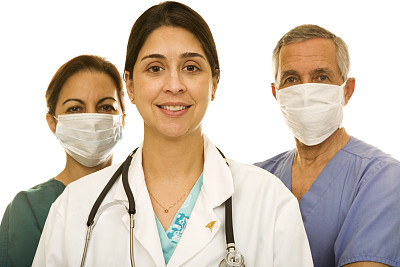 防护面罩,两个人,衣服,男护士,妇科专家,哥伦比亚人,波多黎各人