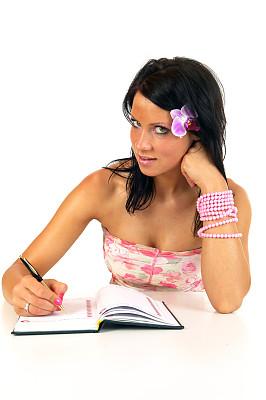 笔记本,垂直画幅,青少年,兰花,夏天,异国情调,头发,青年人,白色,专业人员