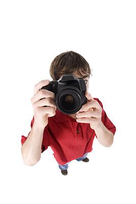 摄影师,单反相机,垂直画幅,青少年,拍摄场景,高视角,白色背景,人,背景分离,男性