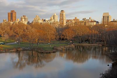 中央公园,都市风景,三只动物,曼哈顿上东区,水,天空,公园,休闲活动,水平画幅,高视角