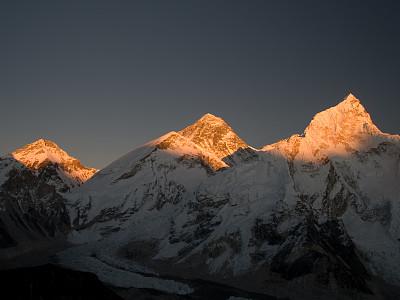 珠穆朗玛峰,卡拉帕塔峰,珠峰大本营,努子峰,坤布,水平画幅,夜晚,雪,无人,喜马拉雅山脉