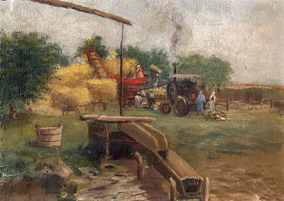 打谷,都市風光,聯合收割機,干草,藝術,水平畫幅,古老的,干草卷