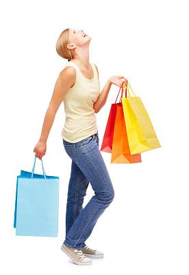 快乐,购物袋,儿童,女性,白色,垂直画幅,美,女人,人,拿着