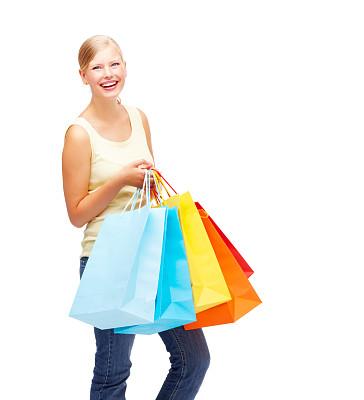 女人,购物袋,白色,可爱的,美,背景分离,快乐,时尚,人,拿着