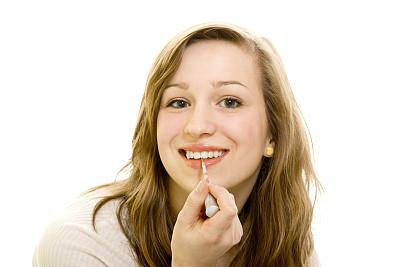 唇膏,白色,女孩,分离着色,美,青少年,水平画幅,注视镜头,美人