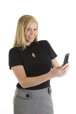 电话机,女人,垂直画幅,美,留白,白人,看,技术,商务,金色头发