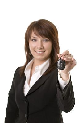 车钥匙,青年人,女人,雅皮士,汽车销售人员,垂直画幅,美,注视镜头,美人