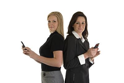 商务,留白,水平画幅,白人,看,平和,女商人,金色头发,快乐,便携式信息设备