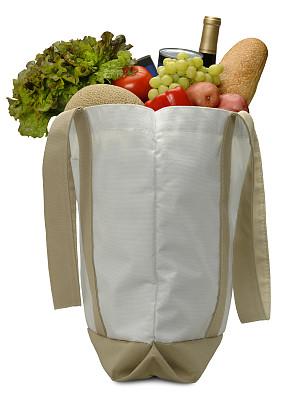 食品杂货,大口袋,回收再利用,红莴苣,生新土豆,散叶莴苣,罗马莴苣,垂直画幅,法式长棍面包,牛排西红柿