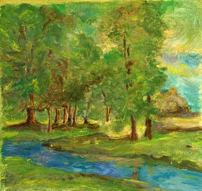 小溪,森林,水,褐色,艺术,水平画幅,无人,绘画插图