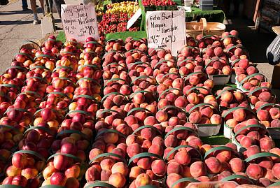 桃,油桃,尼亚加拉瀑布,熟的,饮食,旅游目的地,水平画幅,水果,无人,生食