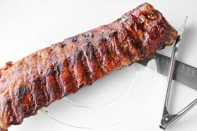 小排骨,沙茶酱,钳夹,碳烤,格子烤肉,饮食,炊具刀,水平画幅,夏天,肋骨