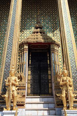 门,建筑物门,寺庙,玉佛寺,曼谷,垂直画幅,灵性,无人,僧院,泰国