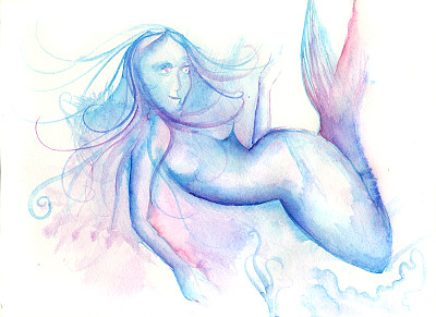 美人鱼,自然,艺术,水平画幅,绘画插图,人,海洋,摄影,游泳