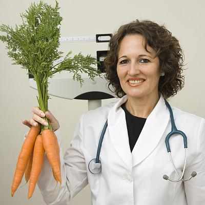 营养学家,胡萝卜,秤,仅成年人,想法,听诊器,成年的,蔬菜