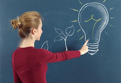 替代能源,下一步,青少年,未来,半身像,能源,智慧,绘画插图,灯,图像