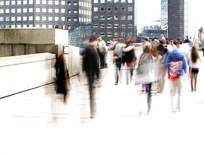 运动模糊,城市,高峰时间,伦敦,职业,英国,通勤者,水平画幅,英格兰,人群