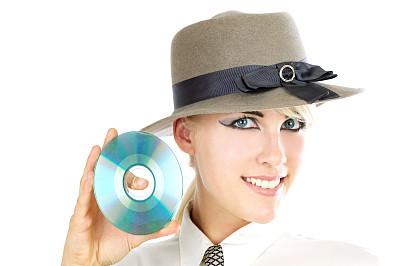 dvd,帽子,扩音器,女孩,金色头发,青少年,留白,女人,水平画幅,人