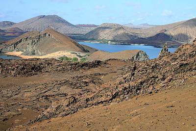 加拉帕戈斯群岛,地形,岩石塔,巴佗罗密群岛,自然,水,天空,厄瓜多尔,水平画幅,高视角