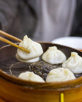 中式小笼包,点心,蒸锅,饺子,垂直画幅,东亚,组物体,塞满了的,白色,晚餐