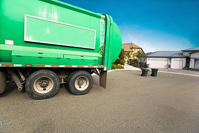 皮卡车,垃圾,垃圾车,自动反斗卡车,垃圾筒,水平画幅,无人,户外,容器,彩色图片