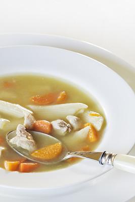 鸡肉面条汤,白色,碗,鸡汤,垂直画幅,美,饮食,胡萝卜,无人,汤
