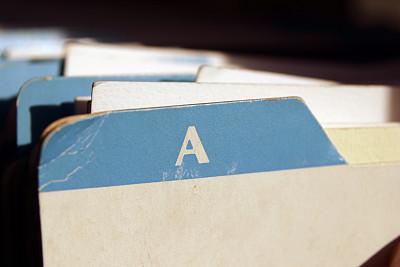 水平画幅,旋转卡片目录,卡片目录,字母,过时的,彩色图片,无人,复古风格,古典式,商务
